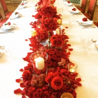 centre de table rouge chic